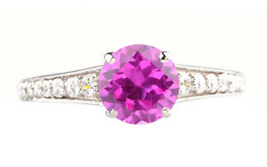 1.90Ct AA Natural Pink Tourmaline With IGI Certified Diamond Ring In 14KT Gold