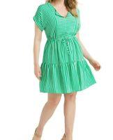 London Times Pebbled Crepe A Line Split Neck Green Striped Dress Size 14