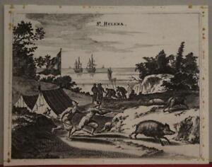 SAINT HELENA UNITED KINGDOM 1671 JOHN OGILBY ANTIQUE COPPER ENGRAVED CITY VIEW