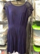 Free People Sz Small Career Navy Blue Dress Soft Pleats Lace Shoulders EF9