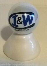 I & W RAILROAD / RAILWAY LOGO ON WHITE PEARL MARBLE