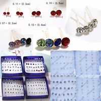 20Pair/Box Wholesale Silver Colorful Crystal Ear Stud Earrings Women Jewelry Hot