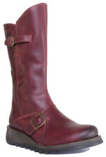 Fly London Mes 2 Women's Real Leather Mid Calf Zip up BOOTS Low Wedge 4 Colours EU 40 Purple