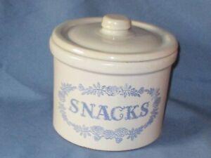 Vintage Gray & Blue Stoneware Kitchen Storage Jar SNACKS Pfaltzgraff ?