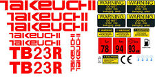 TAKEUCHI TB23R MINI DIGGER COMPLETE DECAL SET WITH SAFETY WARNING SIGNS