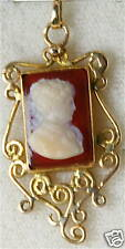 Victorian Antique 14K Gold Hardstone Cameo Lavalier