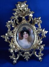 Antique Hutschenreuther Jugendstil Porcelain Lady Portrait Plaque Porzellan Bild