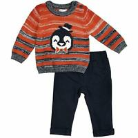 Petit Lem Baby Boys'' Holiday Striped Penguin Sweater with Pants 3M