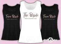 Vest Tank Top Team Bride Hen Party Tribe  Personalised T-shirt Ladies Rose Gold