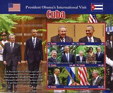 Tuvalu 2016 MNH Barack Obama Visits Cvba Raul Castro 5v M/S US Presidents Stamps