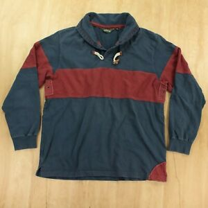 ORVIS shawl collar colorblock rugby polo shirt LARGE vtg 90s 00s y2k toggle
