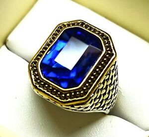 Ancient Ring Silver Plated Solid Stunning Sapphire Rectangle Cut US Size 9.5