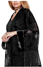 New Guess Kimono Cover up Shawl Velvet Burnout Womens size M / L color Black NWT