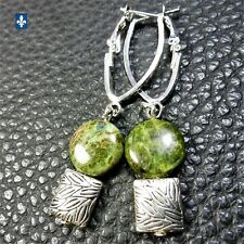 ♥ Charming Natural Green Jasper & Plated Silver Pendant Earrings
