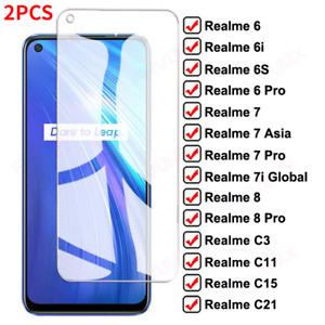 2PCS OPPO Realme 8 7 7i X7 6 6S 6I C3 C11 15 C21 Tempered Glass Screen Protector