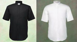 Men's Short Sleeves Tab Collar Clergy Priest Clerical Shirt - *BLACK OR WHITE*