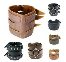Wide Cuff Leather Bracelets Wristband Wrap Bangle for Men Women Buckle Fastening