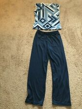 WOMENS NIKE WORK OUT GYM TOP AND PANTS SIZE SMALL NAVY BLUE