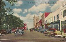 Main Street Looking East in Lakeland FL Postcard 1953