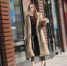 New Womens Faux Fur Coat Outwear V-neck  Thicken Medium-long Style Long Sleeve