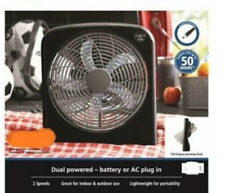 """POWERFUL BATTERY POWERED 10"""" Fan + AC Adapter SHIPS PRIORITY MAIL TO US,VI,PR"""