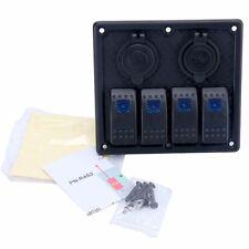 4 Gang rocker switch panel +Double USB + 12V Cigarette Lighter Socket PN-R4S2