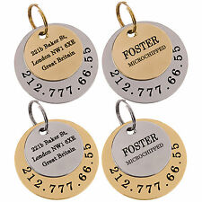 Dog ID Tag Personalised Custom Pet Puppy Cat Name Engraving Brass or Steel