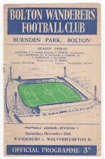 Vintage 1959 Bolton Wanderers vs Wolverhampton Soccer Football Program, England