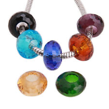 150x Mixed Random Color Crystal Faceted Charms Beads Fit Europ Chain Bracelets D