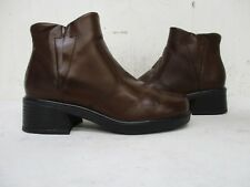 Michel Sondra Brown Leather Zip Ankle Boots Womens Size 7 M