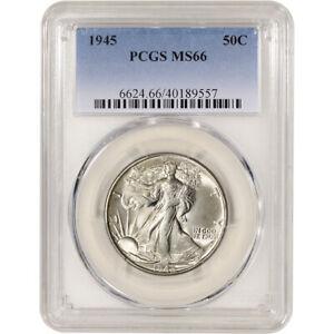 1945 US Walking Liberty Silver Half Dollar 50C - PCGS MS66