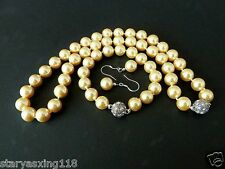 10mm yellow shell pearl fashion bracelet earring and necklace set 18''