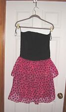 VINTAGE- STRAPLESS BLACK AND PINK PARTY DRESS SIZE-14- NEW