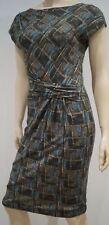 ALBERTA FERRETTI Multi Colour Geometric Print Wool Blend Cap Sleeve Pencil Dress