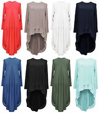 New Ladies Womens Split back High Low Lagenlook Tunic Chiffon Top Dress Plus Siz