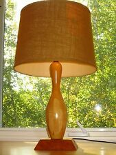 Retro MCM Vintage Bowling Pin Table Lamp Light Burlap Shade Game Room