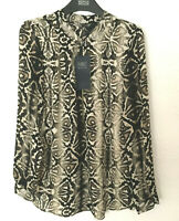 Ladies M&S Collection Size 14 Snake Print Long Sleeve Zip Front Blouse Bnwt