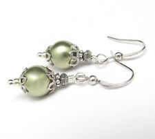 GREEN PEARL EARRINGS Using SWAROVSKI Crystal Pearls Victorian Design Hawaiibeads