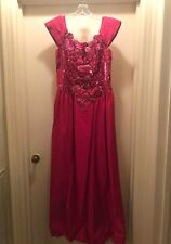 1980s Vintage Nadine Hot Pink Sequin Beaded 80s Party Formal Sleeve Dress Sz 13