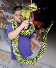 "Stuffed Animal Emulational Anaconda Green Snake King Cobra Plush Toy 110""/2.8m"
