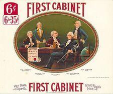 First Cabinet cigar box label, color image by Van Dam Cigar Co. - Geo Washington