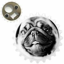 Black & White Pug Bottle Opener Fridge Magnet