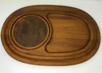 Dansk Serving Tray Cheese Cutting Board Platter Staved Teak Oval Malaysia Vtg