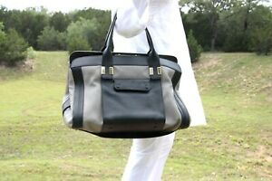 Authentic Chloe Alice Springs Large Black Gray Tote Satchel Top Handle Bag