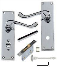 "Bathroom Lever Door Handles Polished Chrome Scroll WC Toilet Set 64mm (2½"") Lock"