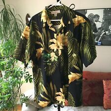 TOMMY BAHAMA sz M Black Green & Yellow Tropical Floral Silk Men's Shirt