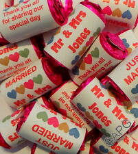 Personalised Love Heart Wedding Sweet Favours 1 purchase = 10 rolls and wrappers