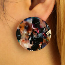Women's Colorful Acrylic Big Round Hoop Ear Studs Earrings Party Jewelry Fashion