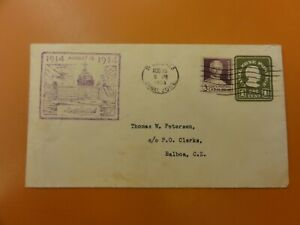 Canal Zone stamps 1934 20th anniversary cover, #U10 & #117