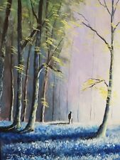 Bluebell Glade. An original acrylic painting by Susan Gaunt